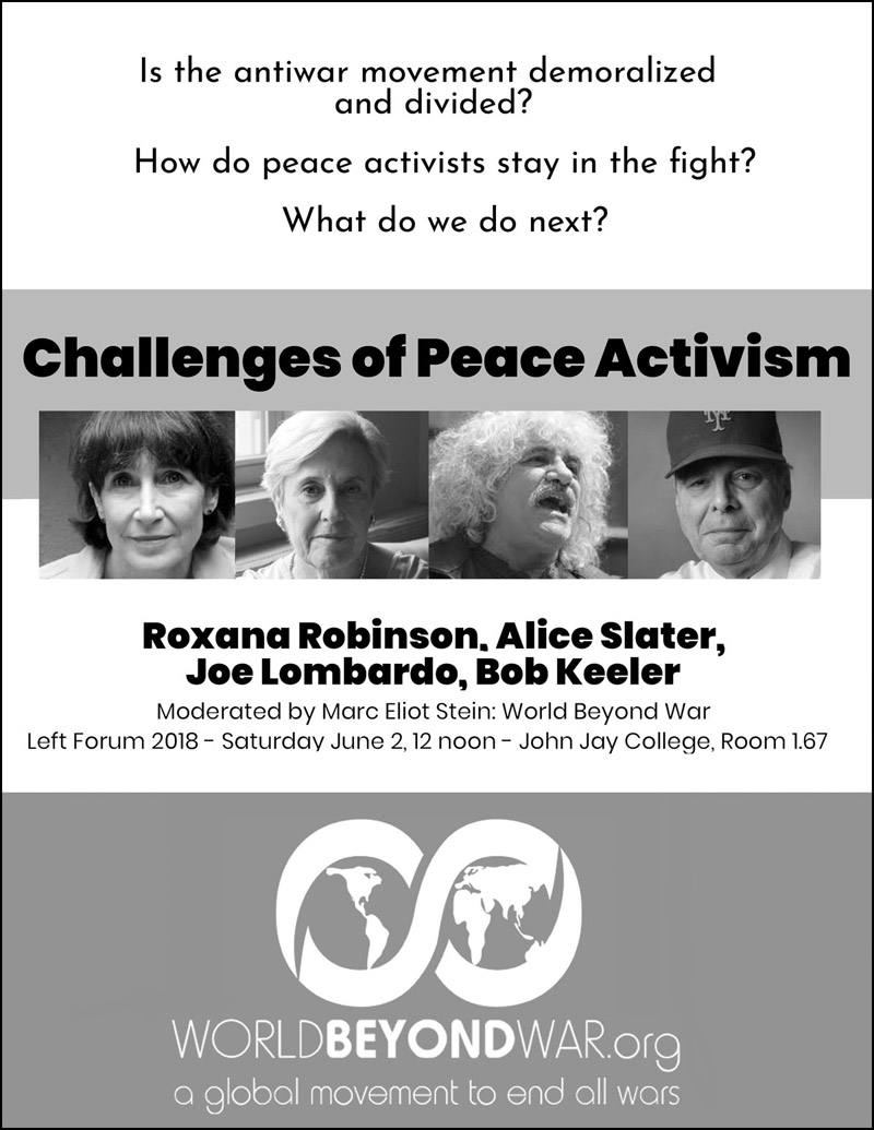 """Challenges of Peace Activism"" - a Left Forum 2018 panel"