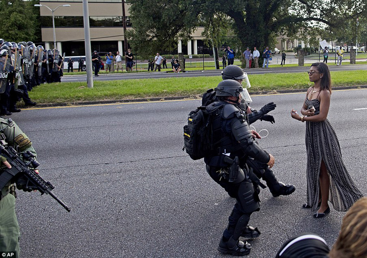 Protester faces robocops in Baton Rouge