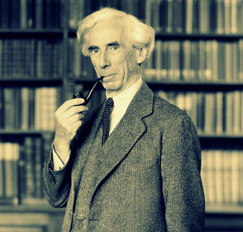 Bertrand Russell with pipe and books