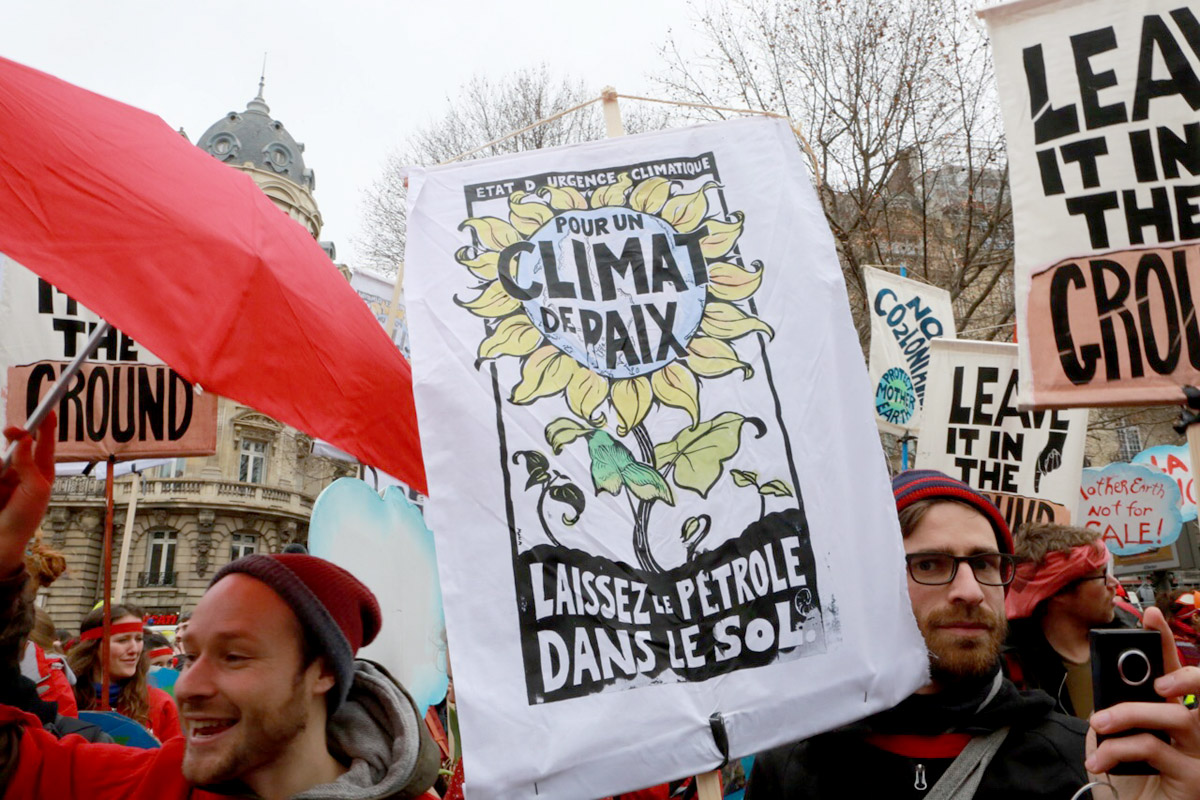 Climat de Paix: a poster at a celebration for the 2015 Climate Change conference.