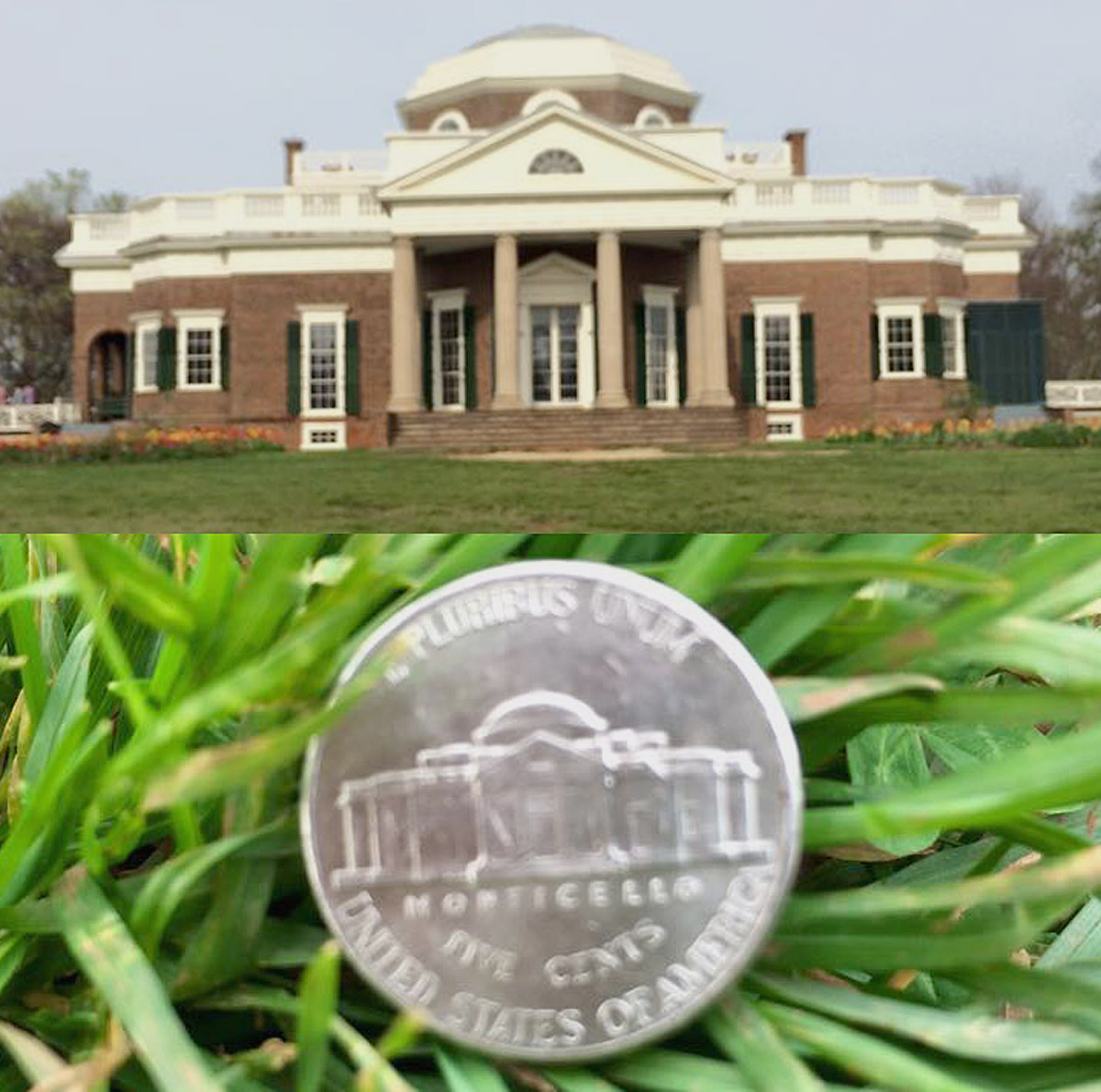 Monticello in real life and on a Nickel