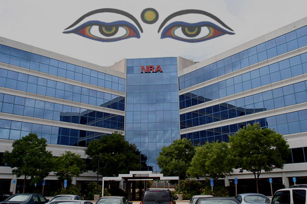 Buddha's Eyes Over the National Rifle Association Building in Fairfax, Virginia