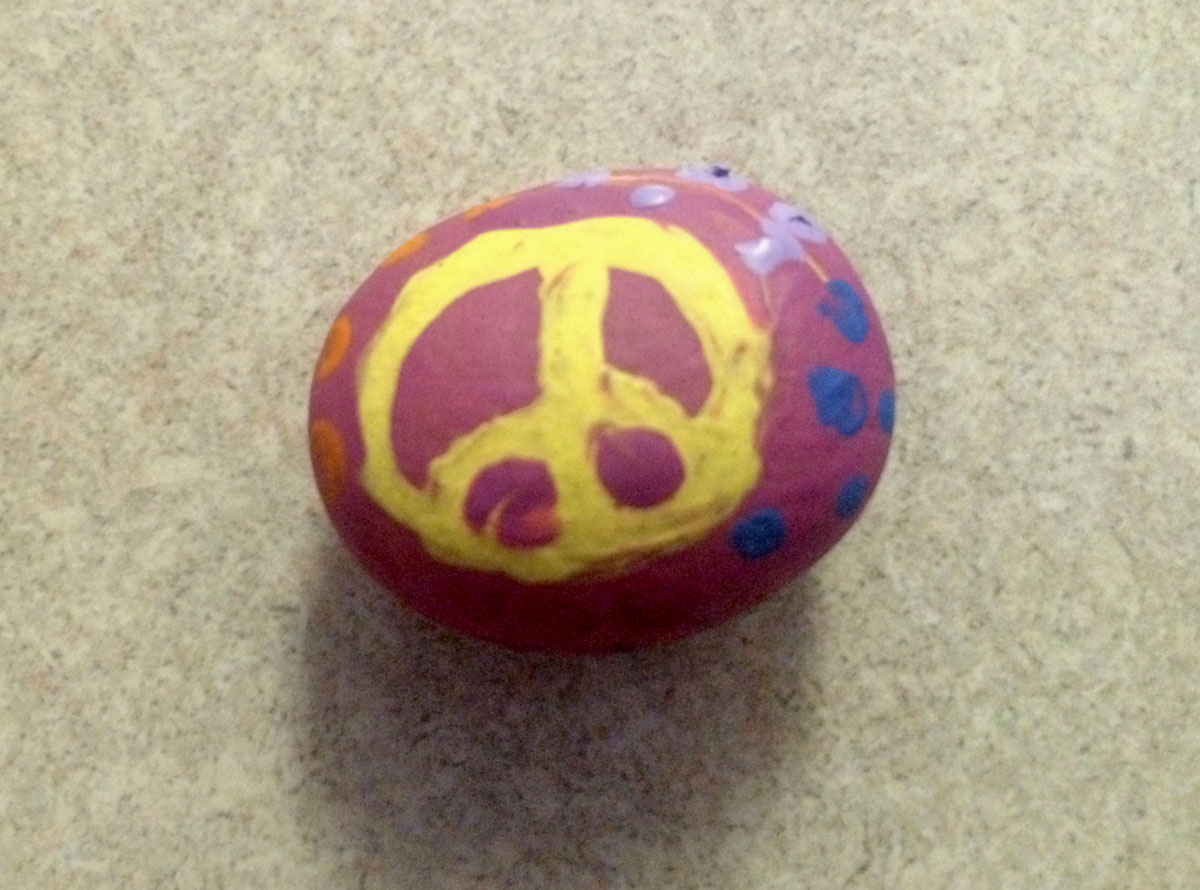 A rock with a peace sign